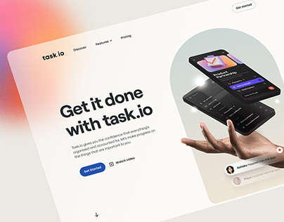 Task.io – Clean Hero Header
