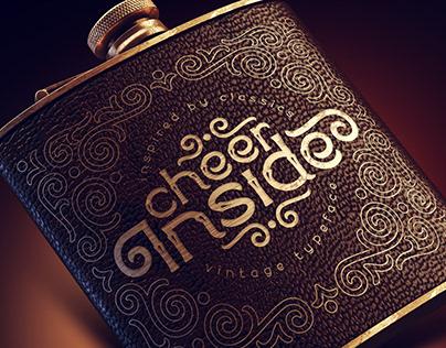 Cheer inside. Font, mockup, template