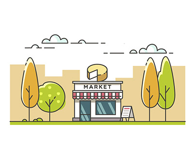 Market 2D Animation GIF (motion graphics/practice)