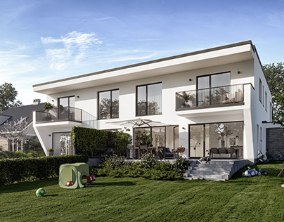 External visualization of a semi-detached house