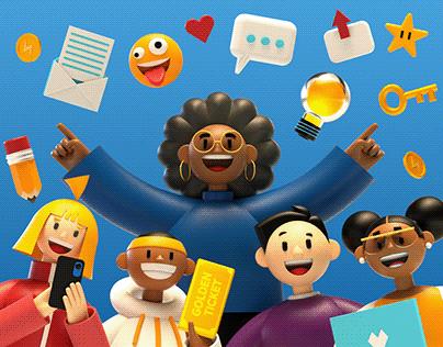 3D School Fundraiser Illustrations