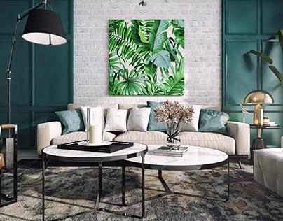 Living - Tropical Printed Motif