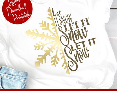 Let It Snow Snowflake SVG