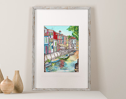 Colorful Burano Watercolor