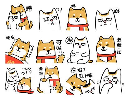DunDun & Shiba sticker