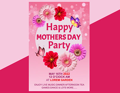 Happy Mothers Day Party Poster Design Template