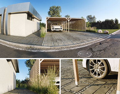 Carport by the house - 3D visualization