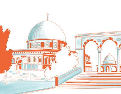 Jerusalem sites illustrations