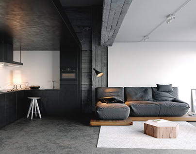 Black & White Industrial Space Interior