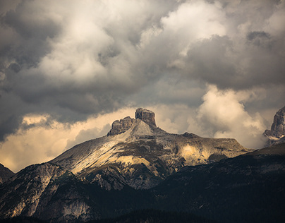 Dolomites. In clouds. Italy.