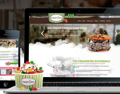 Creamistry website design - liquid nitrogen ice cream