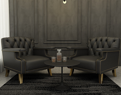black seating area