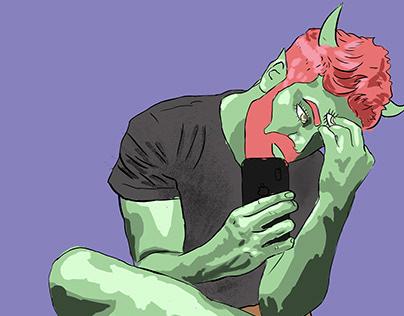 Creature of Spirit, green skin, pink hair