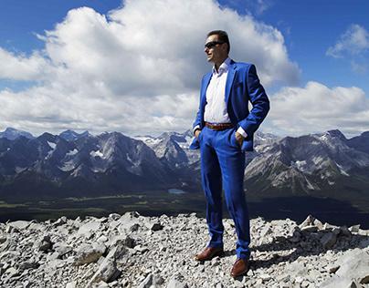 Rocky mountains blue suit