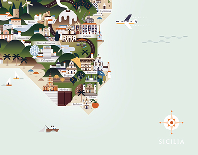Sicilia - Illustrated map