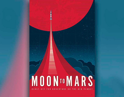 NASA inspired Moon to Mars poster style illustration