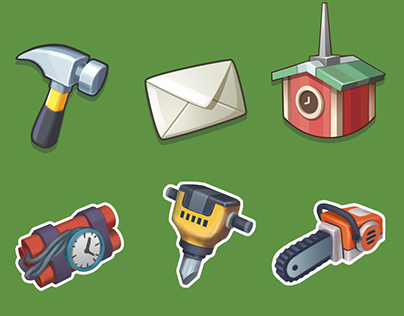HUD Icons, Popup Animation for Planet Gold Rush