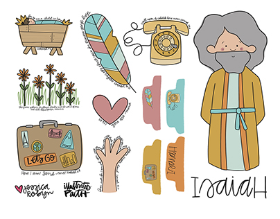 Illustrated Faith Scrapbook Pieces | Bible Characters