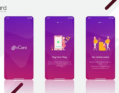 vCard Mobile App UI Screens
