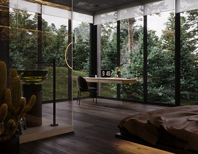 BEDROOM. Black modern house in the woods (part 2)