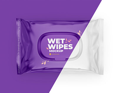 Wet Wipes Mockup. top view