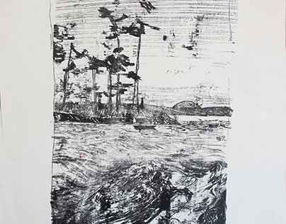 MONOTYPE / LANDSCAPE / BOAT / PINE / SPACESHIP / SEA