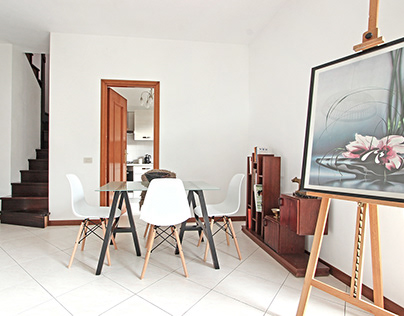 an artistic penthouse near Rome
