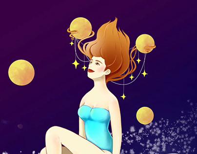 Animation of Illustration (Girl in space)