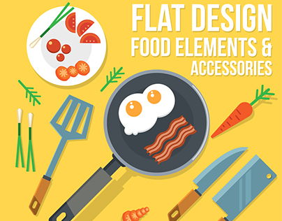 Flat Design Food Elements And Character Illustration