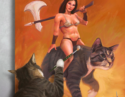 Cat Self-Portrait In The Style of Frazetta