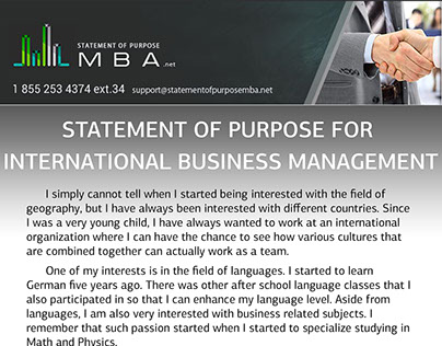 statement of purpose for international business management