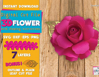 3D Flower with Shaping Instructions | Digital Cut File