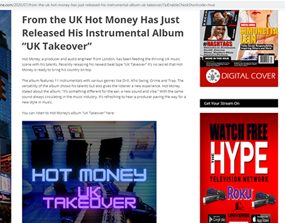UK Hot Money Has Just Released His Instrumental Album
