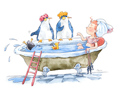 Penguine story-watercolour illustrations, characters