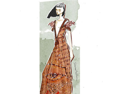COUTURE. Sketch by me (hand drawing, watercolor and pho