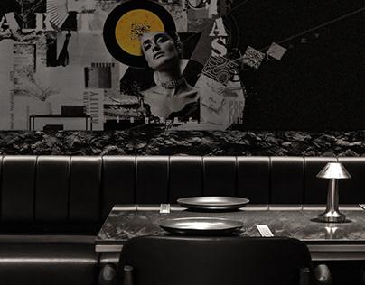 Black restaurant interior with my saffron collage