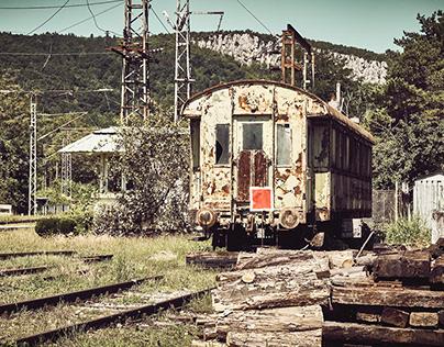 Derelict train coach