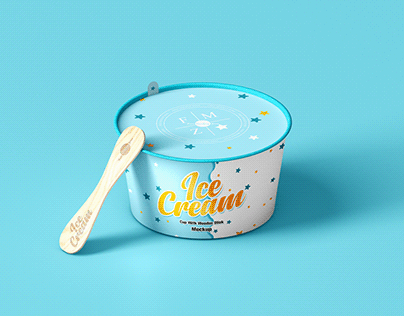 Free Ice Cream Cup With Wooden Stick Mockup
