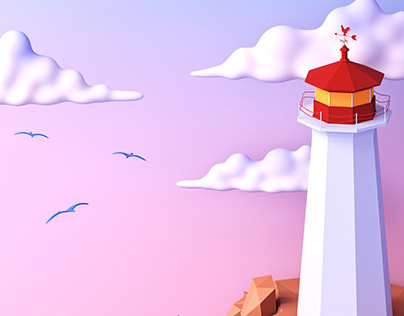 Lighthouse Postcard | 3D Illustration