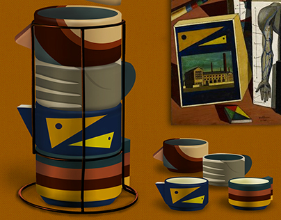 De Chirico Inspired Stacking Mug Design