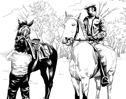 Cover design and illustrations for a book about horses