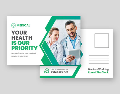 Medical modern post card design-post card template