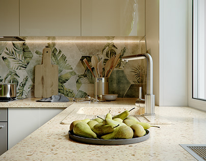 Kitchen. 3D Visualization.
