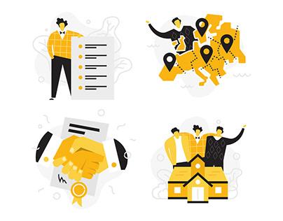 Gordius.eu illustrations & UI designs