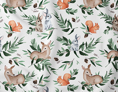 Leafy Animals - watercolor woodland nursery pattern