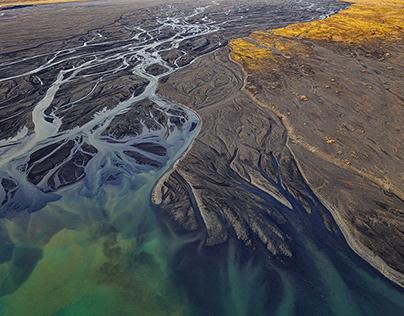 Hjörleifshöfði in South-Iceland, From the sky