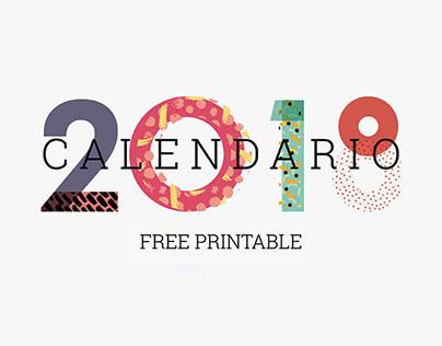 2018 Calendar A5 - Free Printable