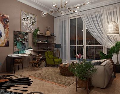 Kitchen & Living Room (night version)