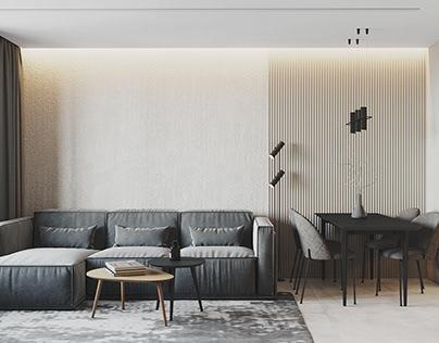 Minimalistic beige&grey apartment, Saint-Petersburg