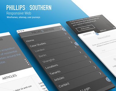 Phillips & Southern wireframes, sitemap, user journeys
